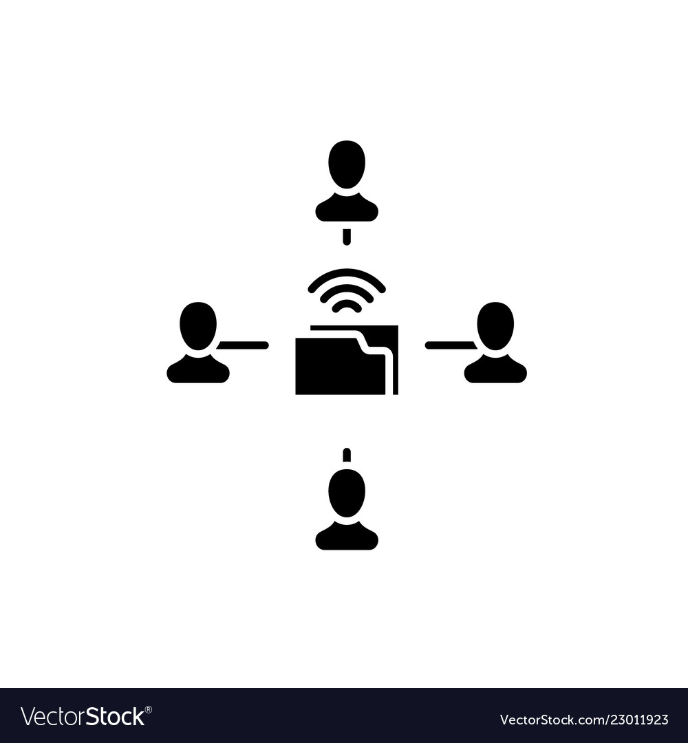 People networking black icon sign on