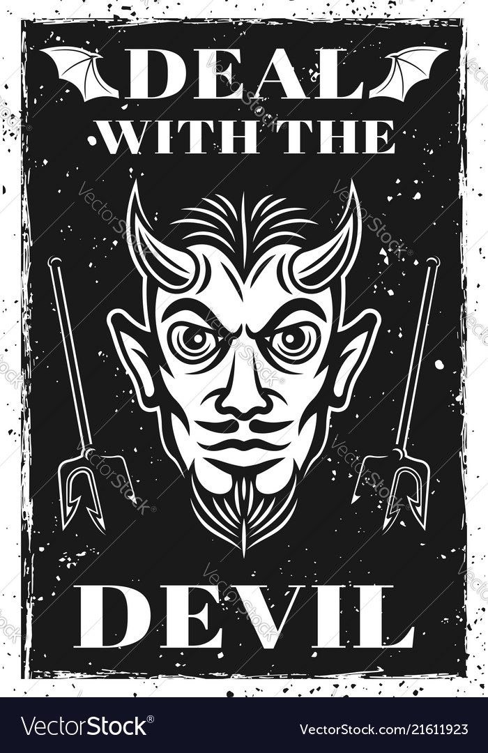 Poster with horned devil head