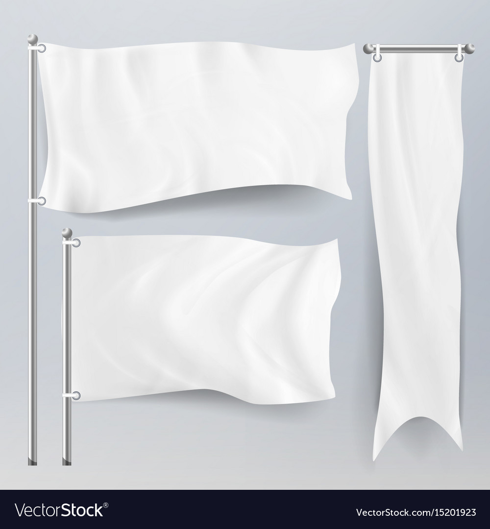 Realistic white advertising textile flags and