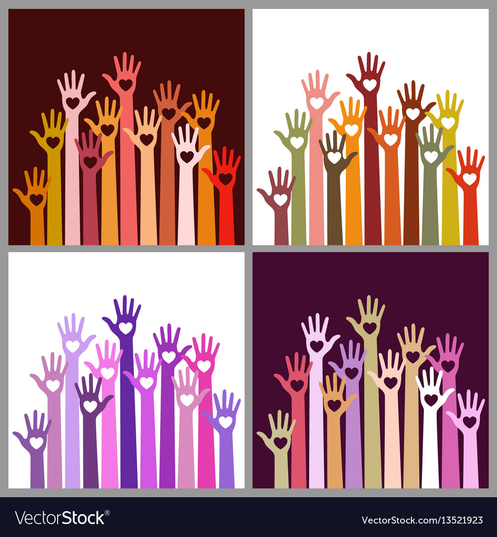 Set of colorful volunteers caring up hands hearts