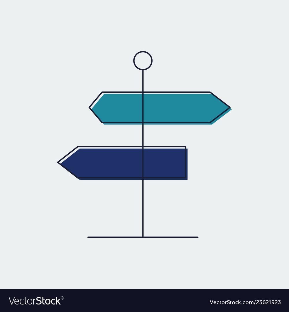 Signpost flat line icongraphic design