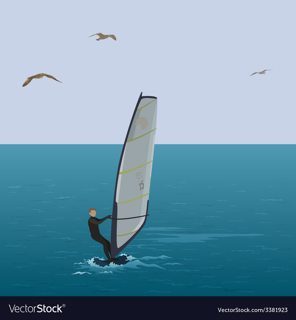 Sportsmen surfer sail in the blue sea