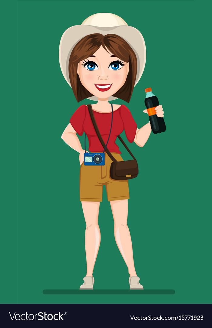 Tourist woman traveler with bottle of soda water
