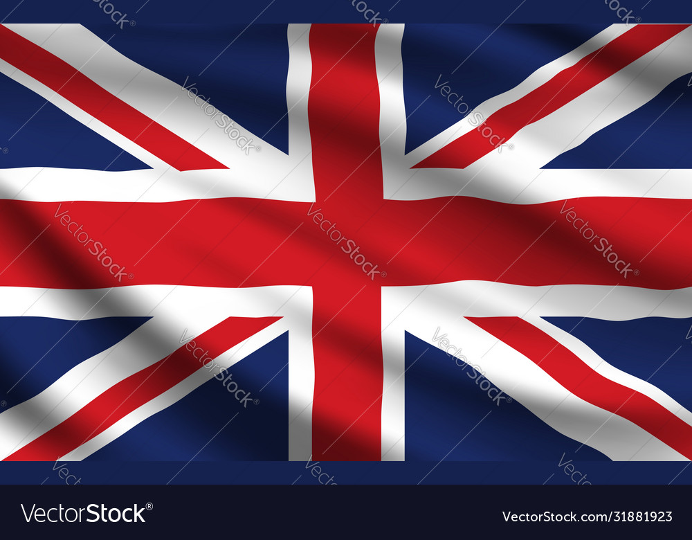 United kingdom flag realistic waving union jack