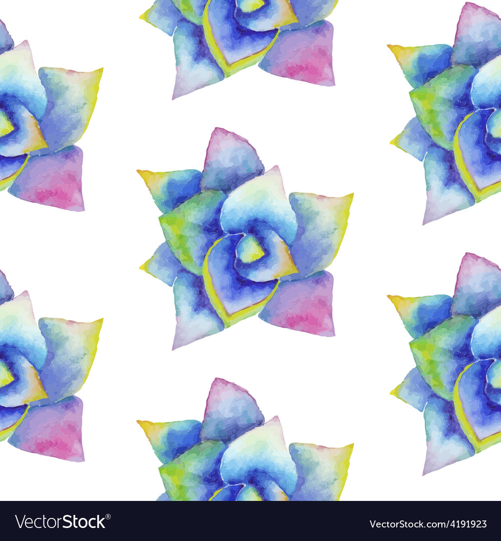 Watercolor seamless pattern with succulent