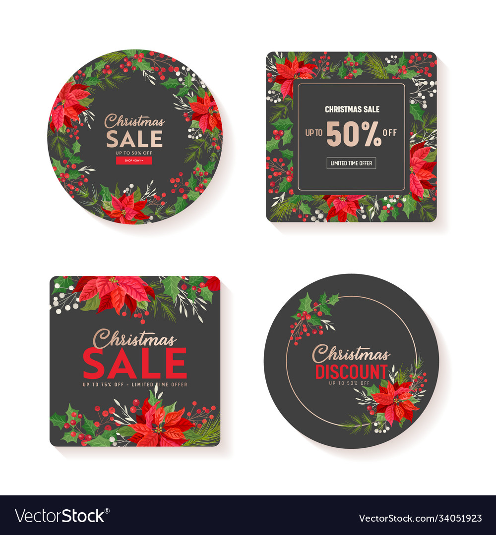 Winter sale tag banner christmas offer set