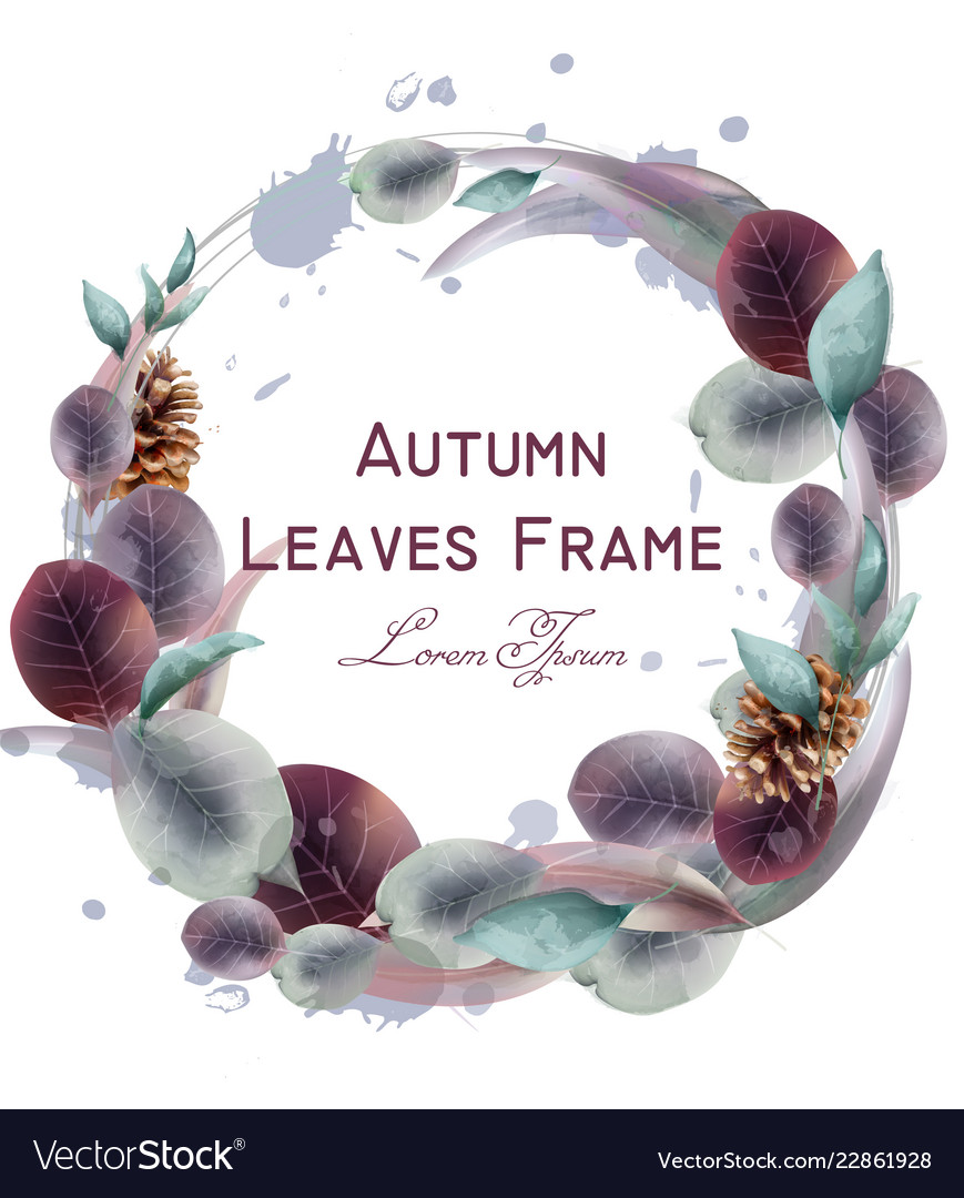 Autumn leaves wreath watercolor round leaf