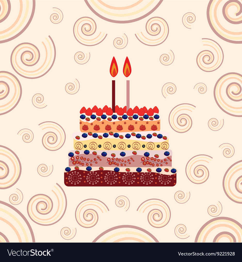 Enjoyable Birthday Cake With Two Candles Two Years Vector Image Birthday Cards Printable Benkemecafe Filternl