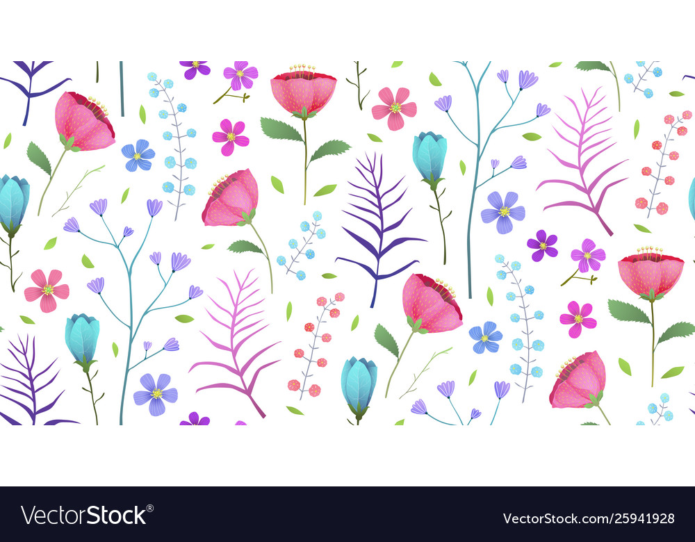 Blooming tropical flowers poppies summer seamless