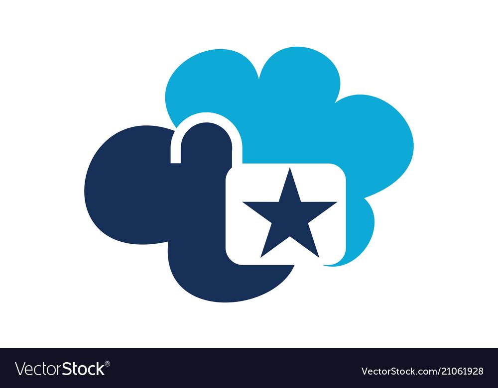 Cloud secure logo design template