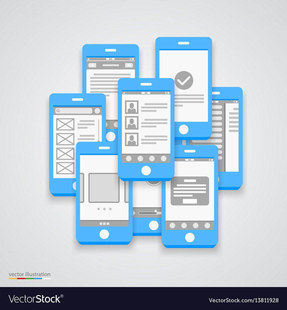 Flat phone screen collage