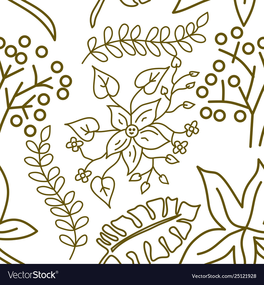 Flower leaf pattern seamless template