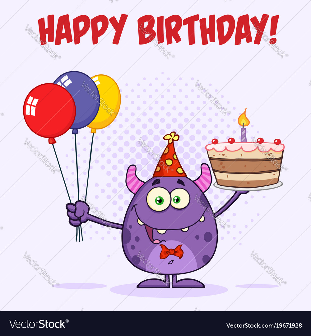 Outstanding Funny Monster Holding Birthday Cake Royalty Free Vector Birthday Cards Printable Trancafe Filternl