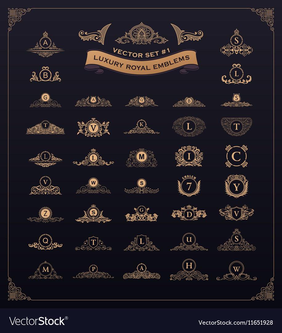 Luxury royal logo set Crest emblem heraldic vector image