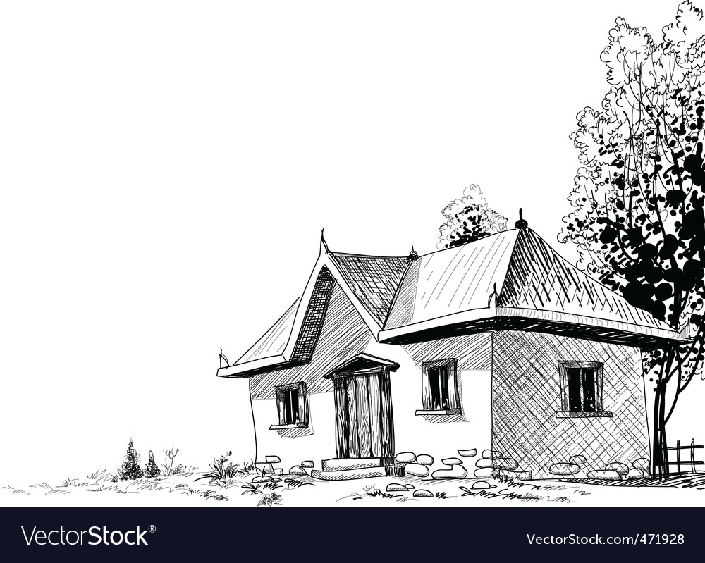 Old house sketch vector image