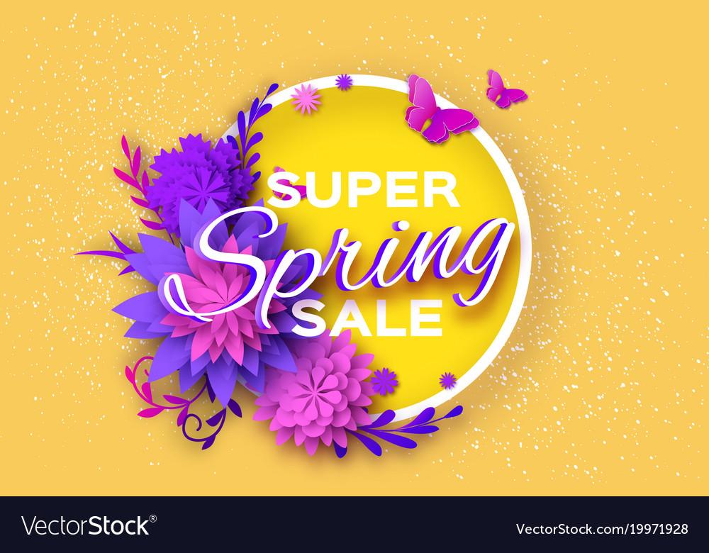 Origami violet super spring sale flowers banner vector image mightylinksfo