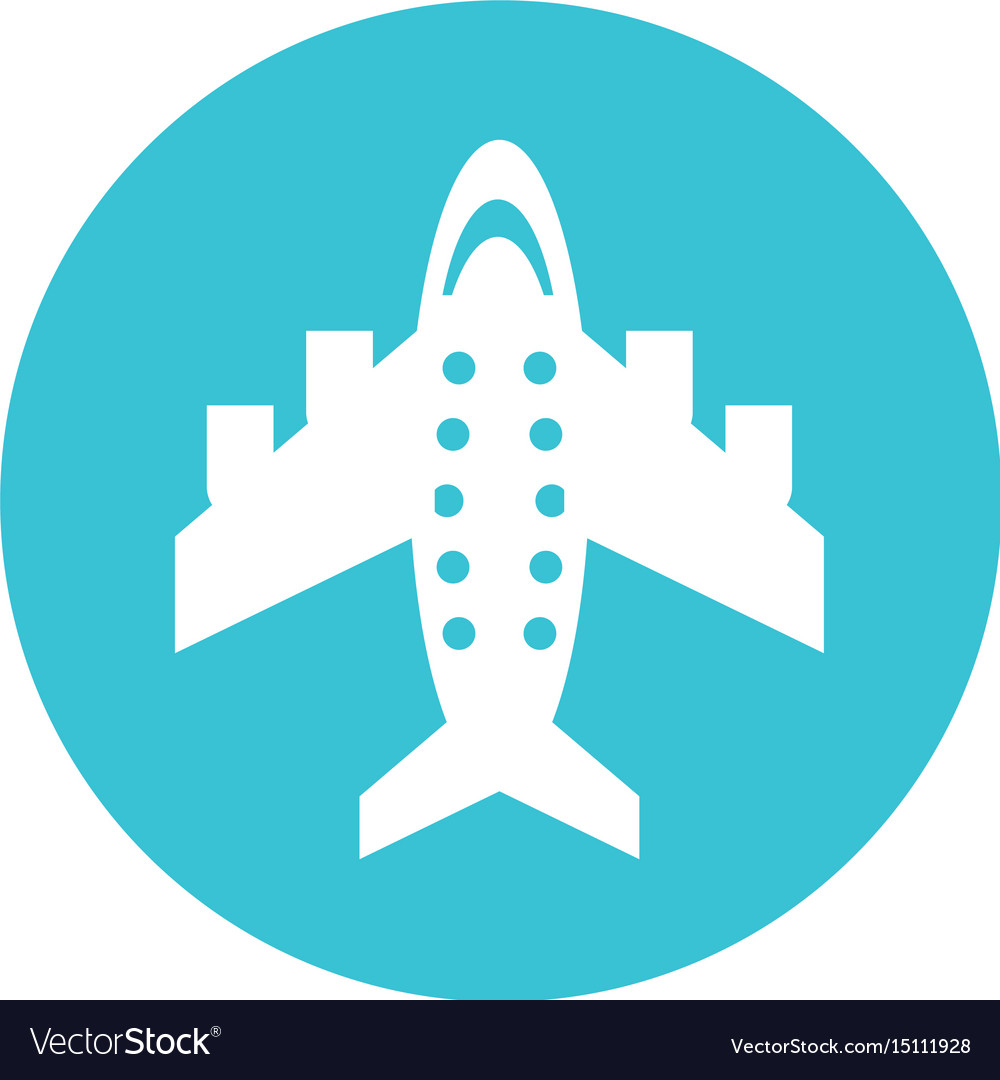 Round icon airplane cartoon