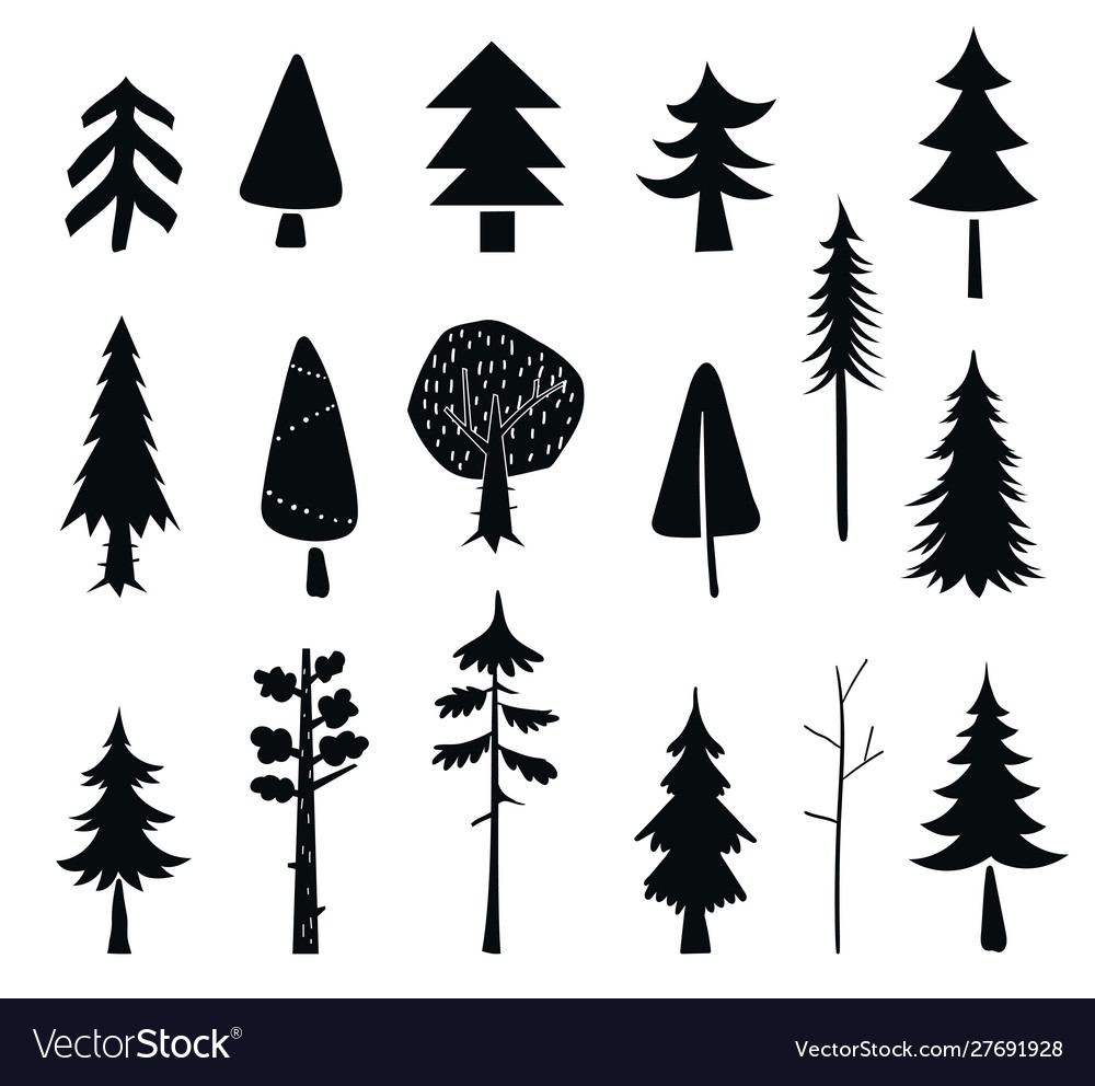 Set tree icons black silhouet isolated on a