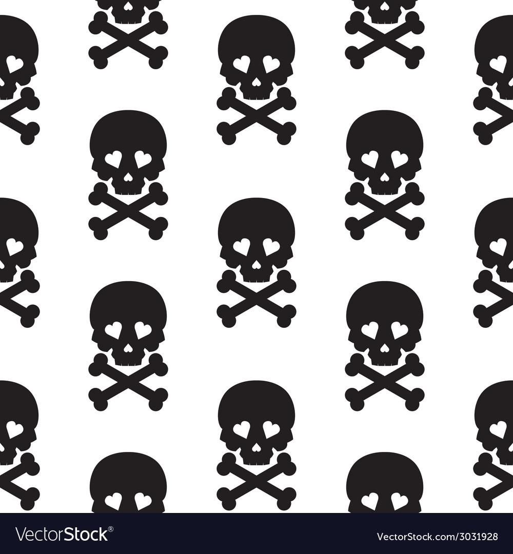 Skull seamless pattern background white black