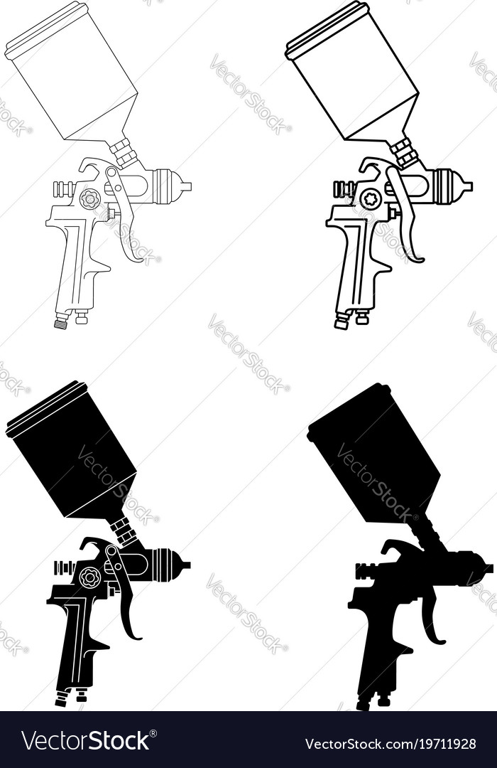 Spray gun solid and outlined vector image
