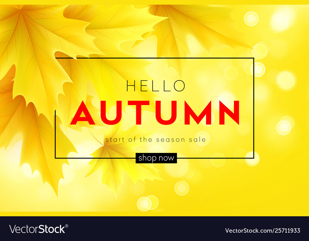 Autumn poster with lettering and yellow autumn