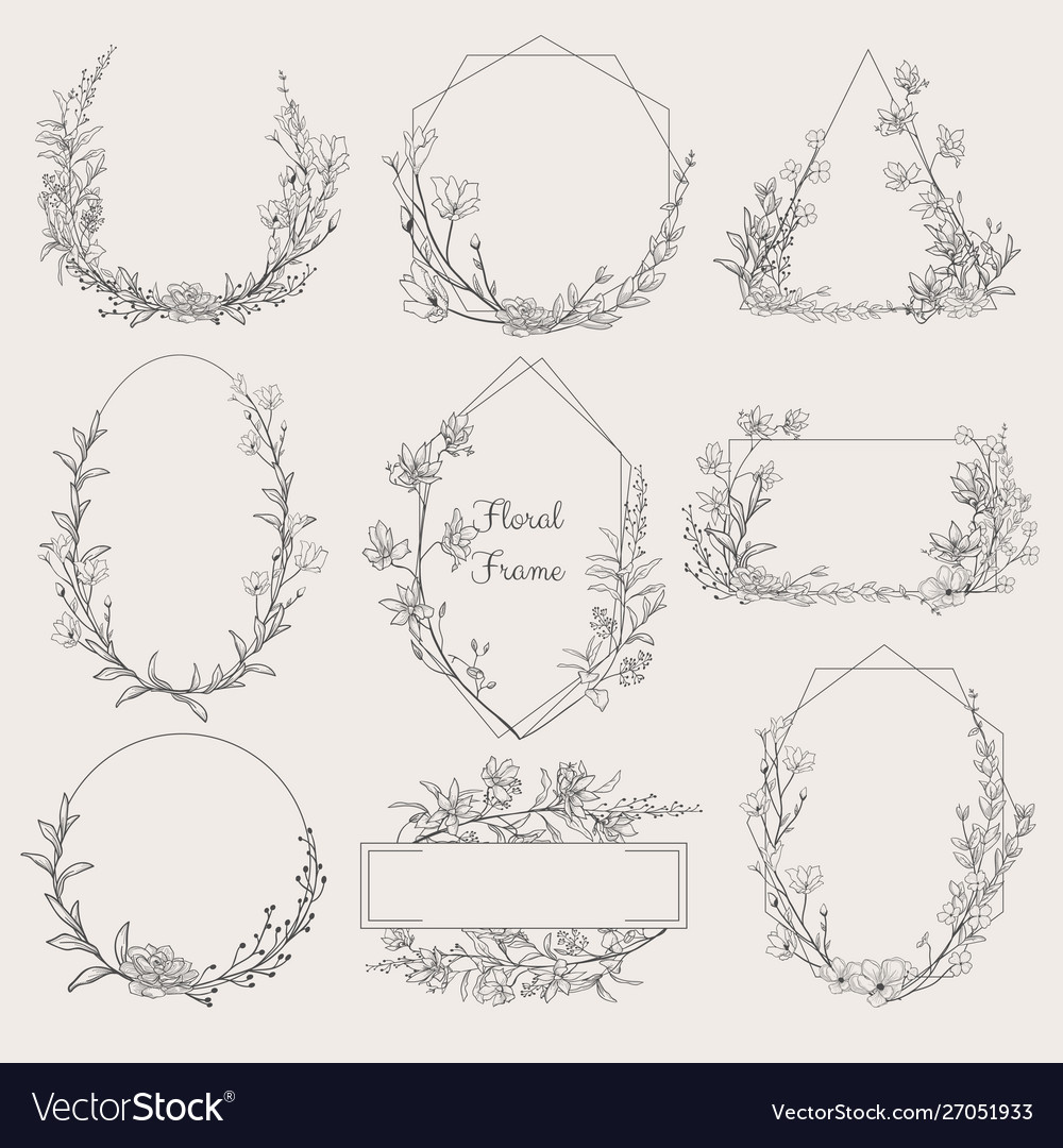Collection geometric floral frames