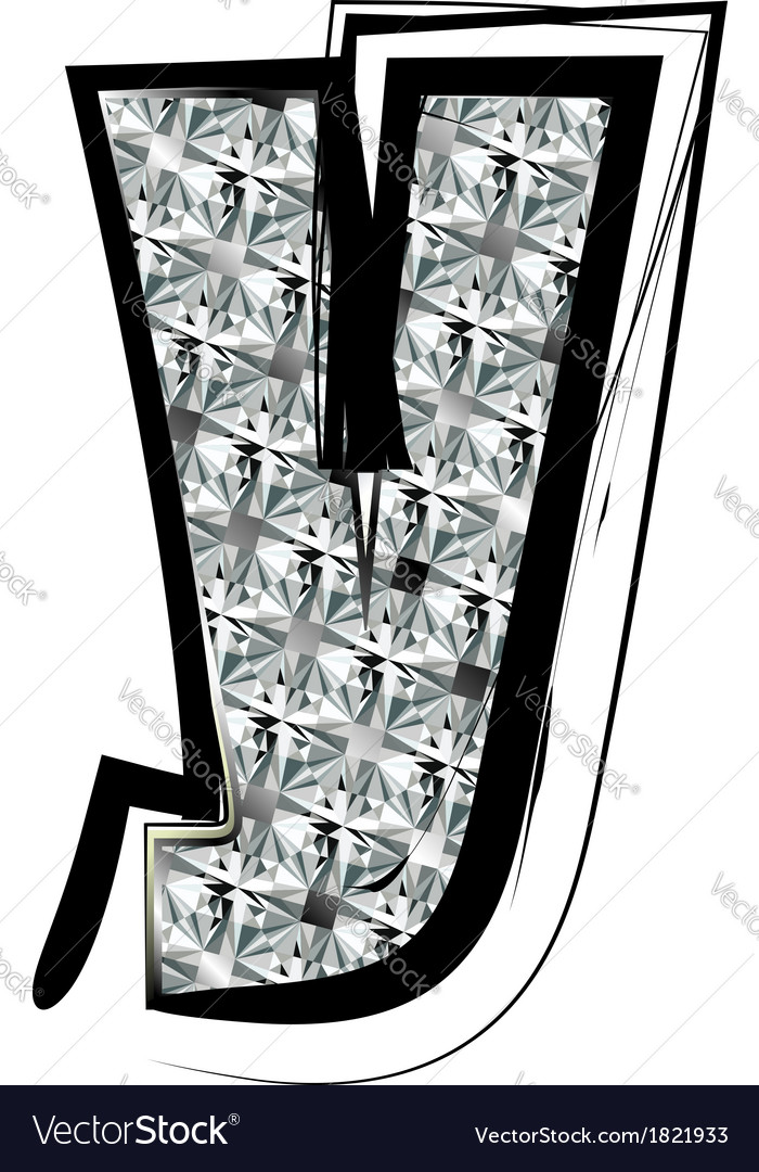 Diamond Font letter y vector image