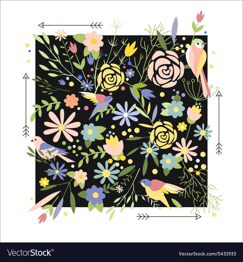 Flowers Graphic Design for t-shirt fashion vector image