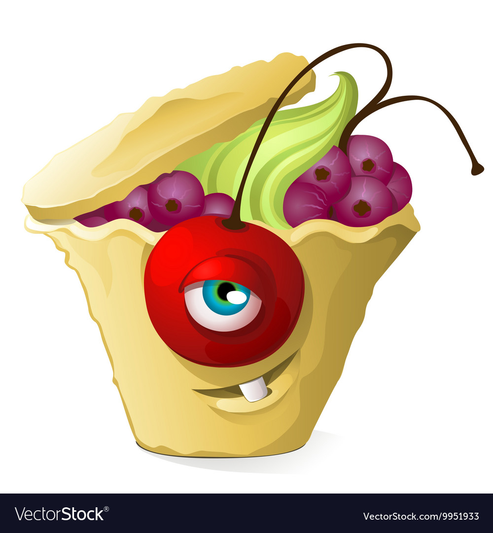 Funny cupcake monster with currants cherries and