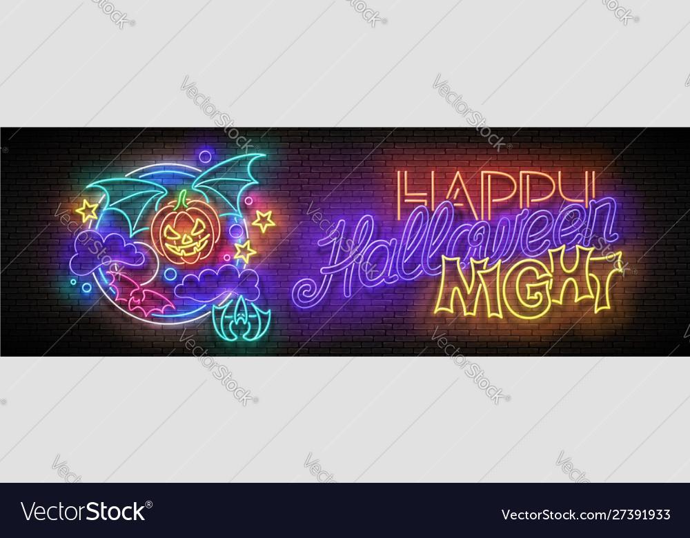 Glow halloween greeting card with vampire pumpkin