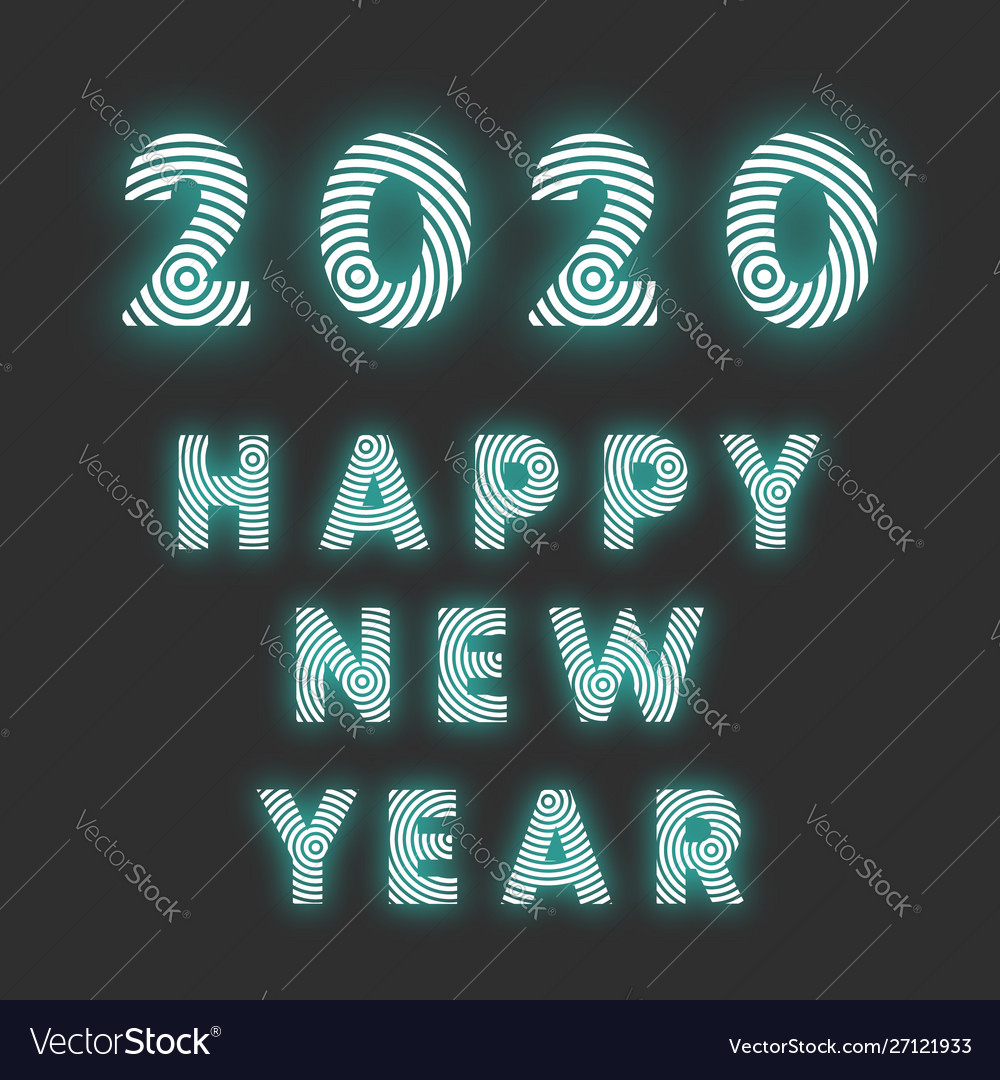 Happy new year 2020 background radial line design