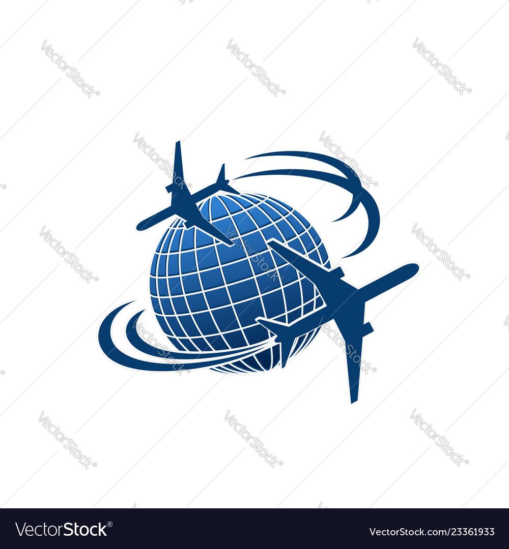 Icon of airplane jet over world globe