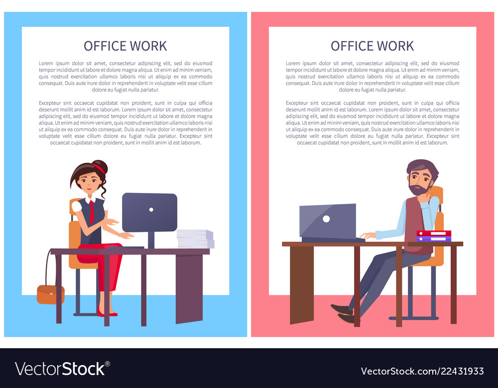 Office work posters set business people man woman