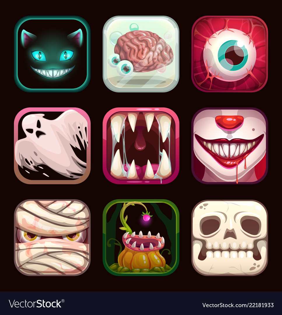 Scary app icons on black background creepy mobile