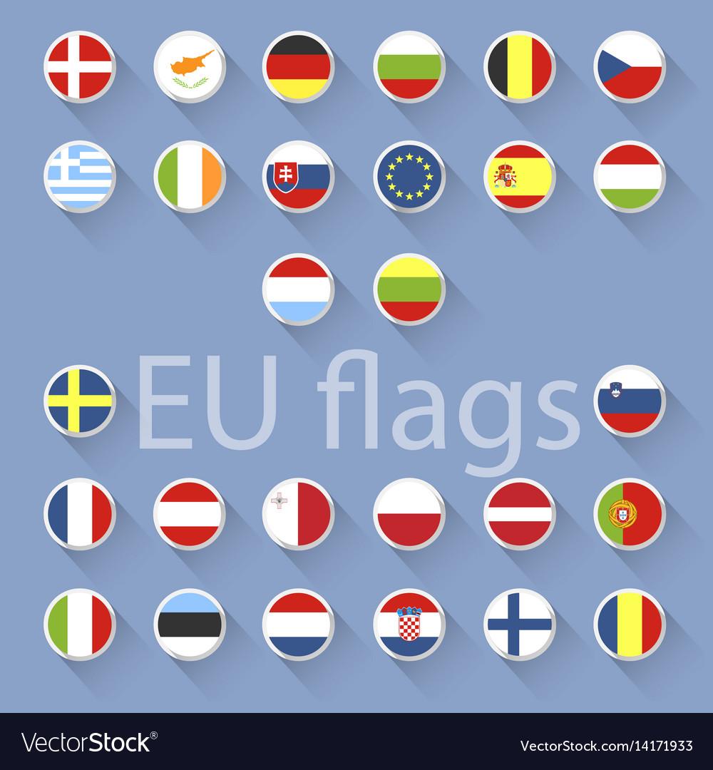 Set of european union flags flat design