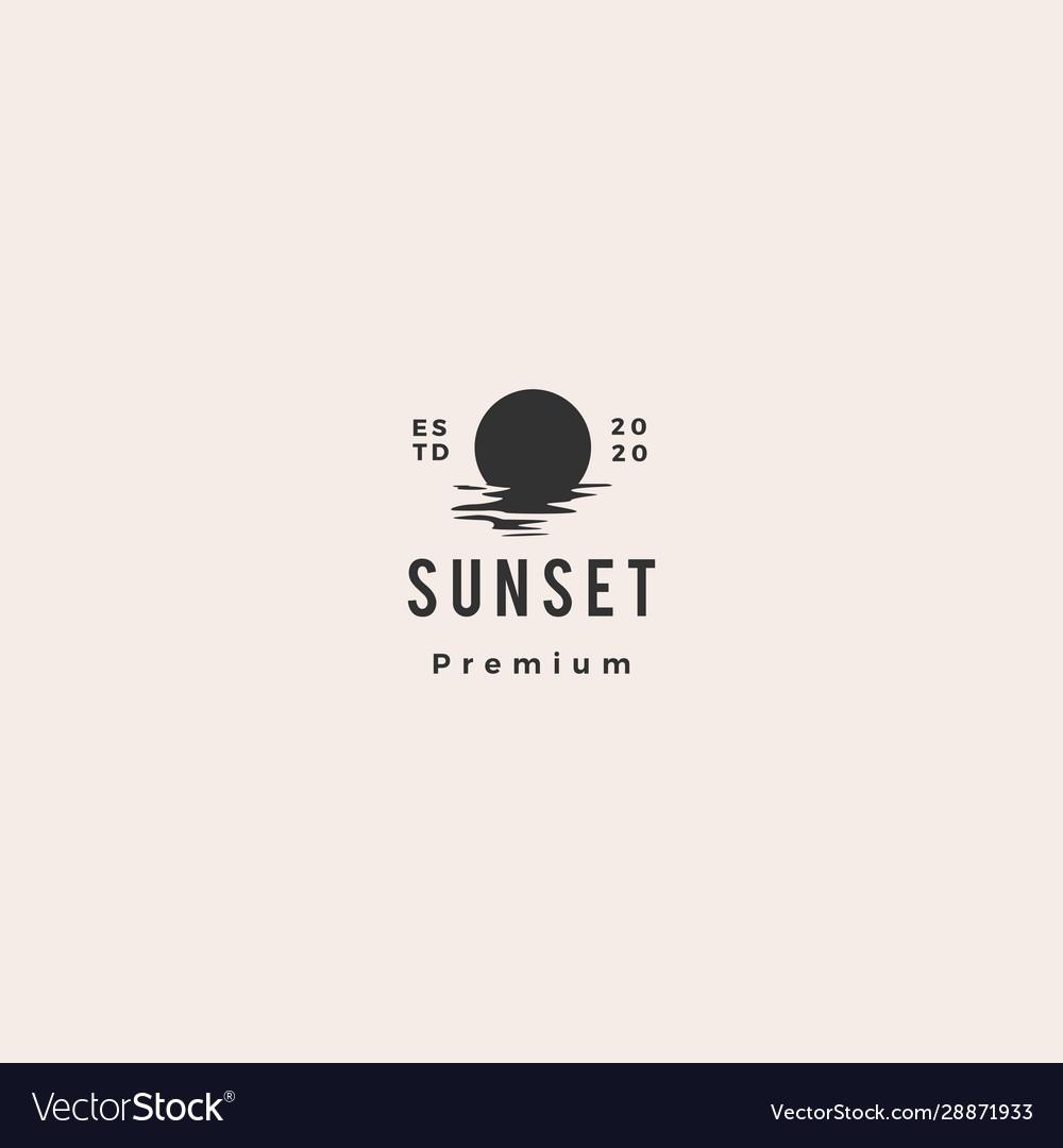 Sunset logo icon sea gulf coast hipster vintage