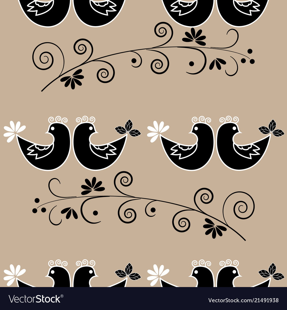 Birds and twig seamless pattern