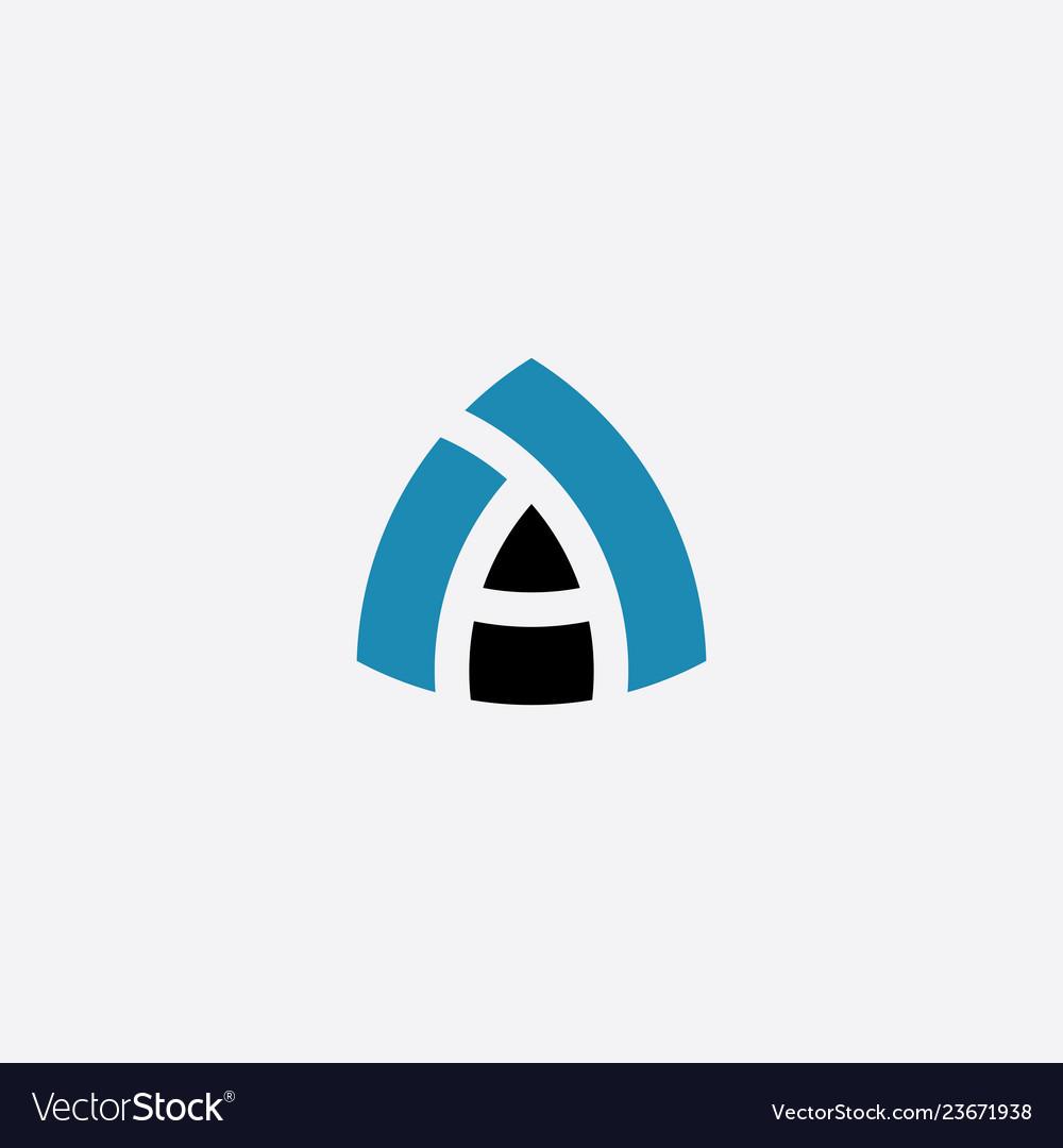 Blue black letter a logotype symbol