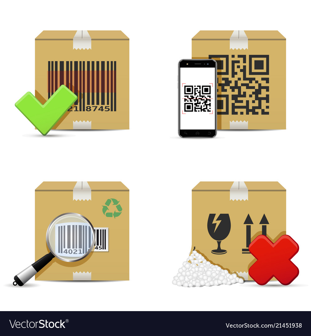 Checking delivery cardboard boxes icons