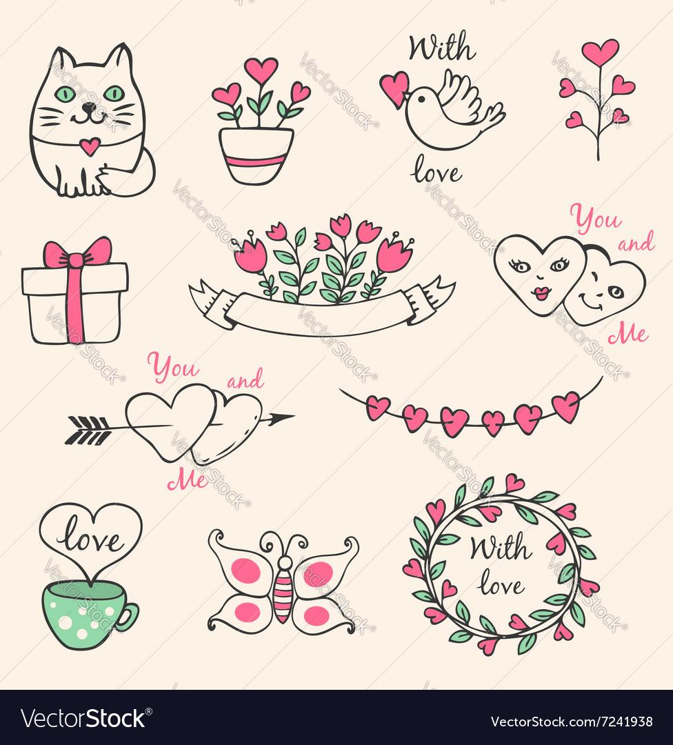 Hand drawn decorative Valentine elements