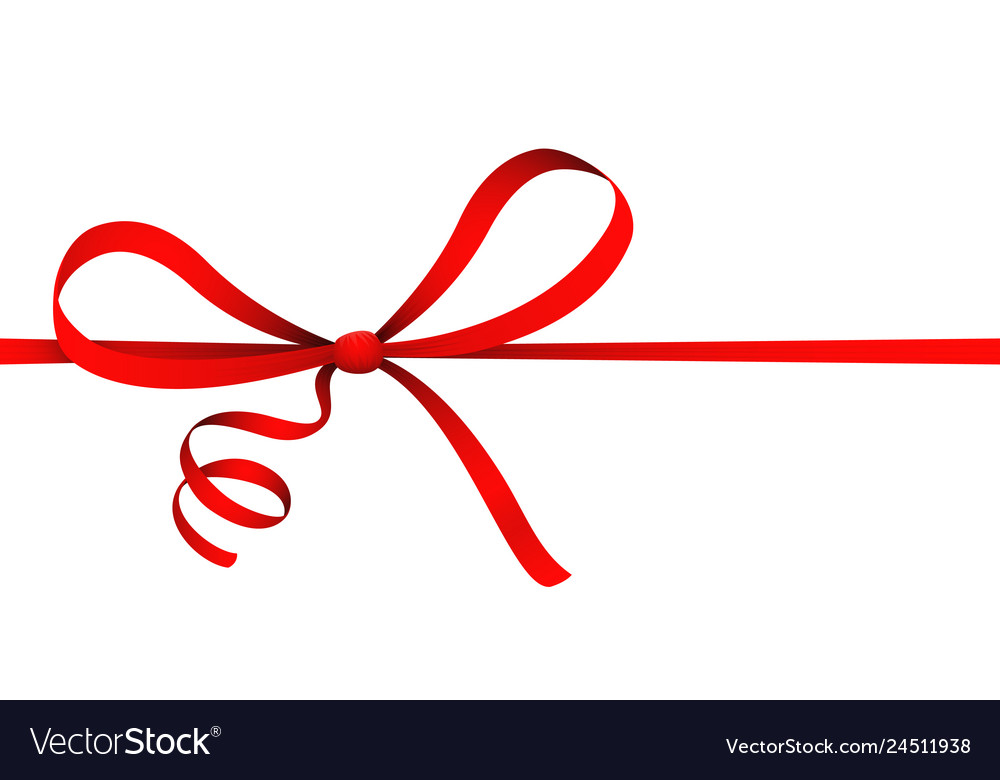 Isolated on white red ribbon curl bow gift present