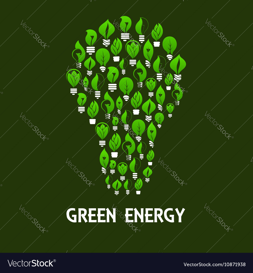 Light bulb symbol made up of eco lamps with leaves