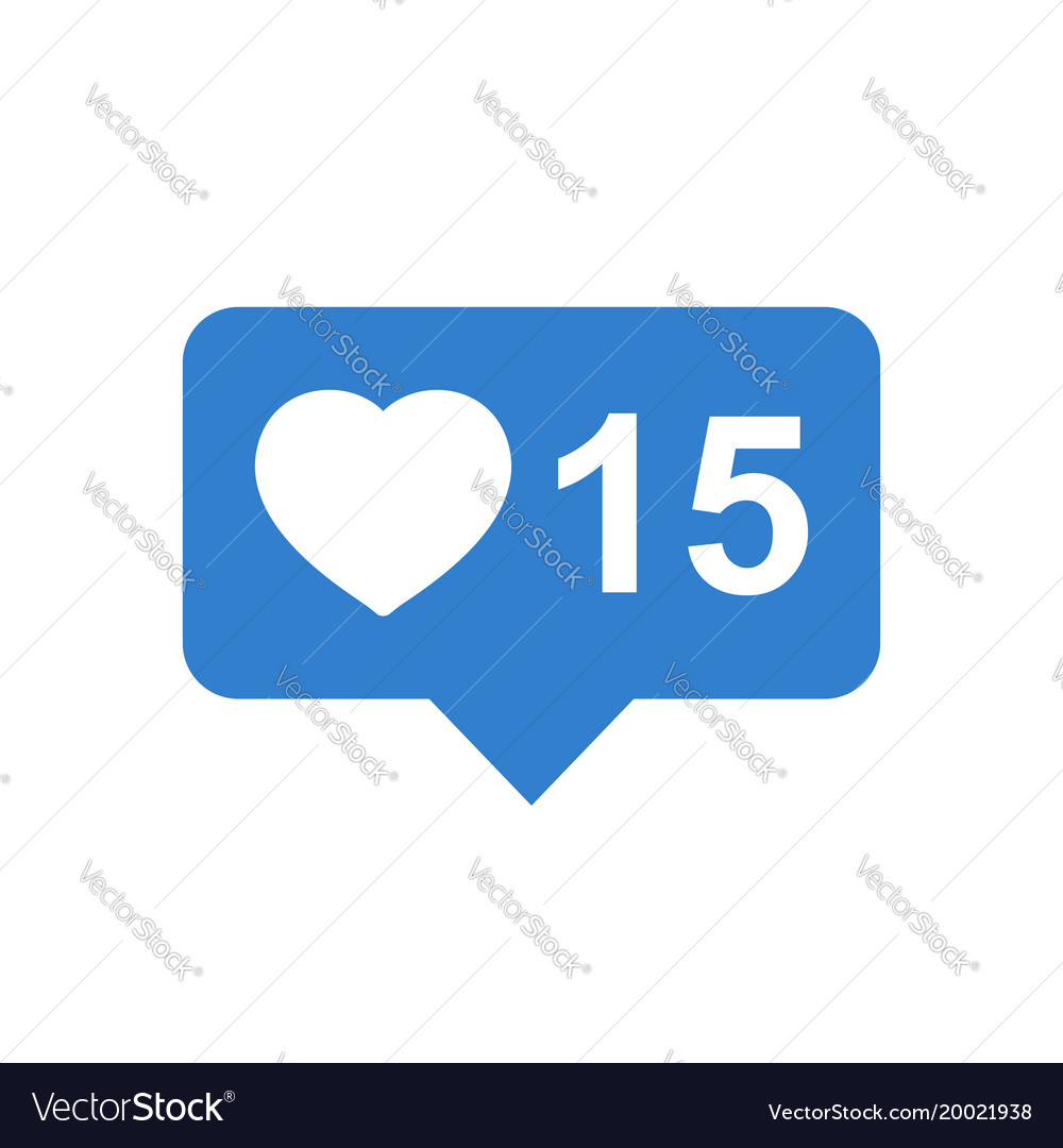 Like comment follower icon blue flat with heart