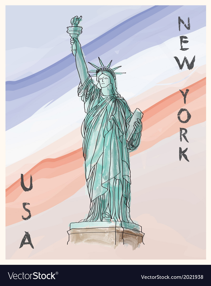 New York Statue of Liberty hand drawing poster vector image
