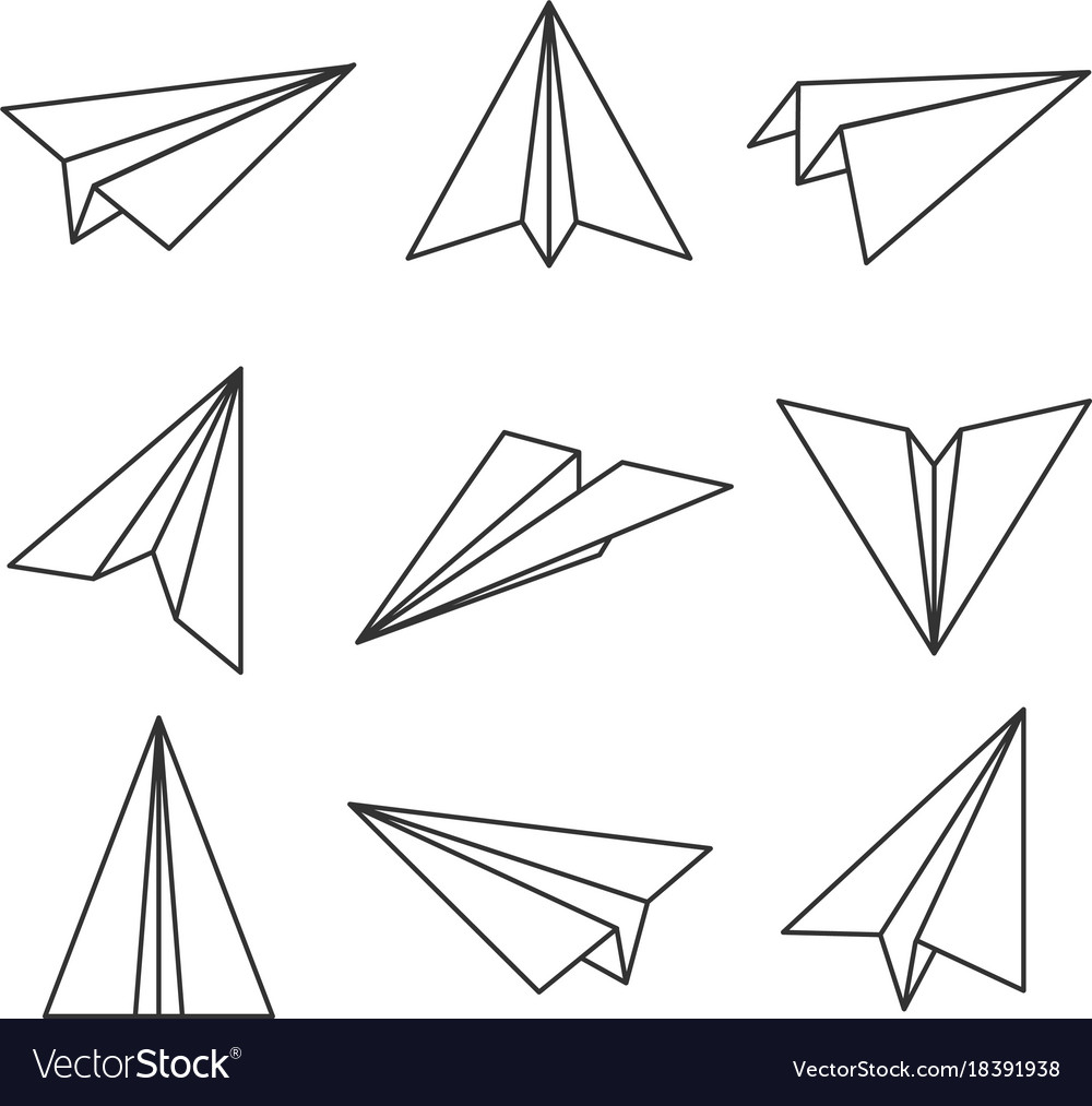 Paper Plane Outline Royalty Free Vector Image Vectorstock