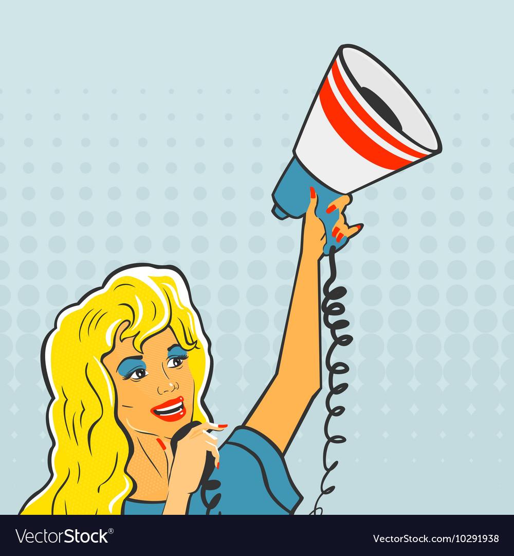 Pop Art Girl with a megaphone