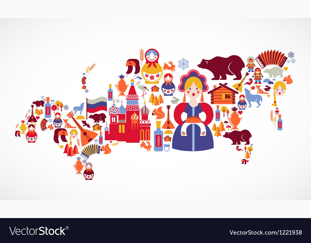 Russia map with icons vector image