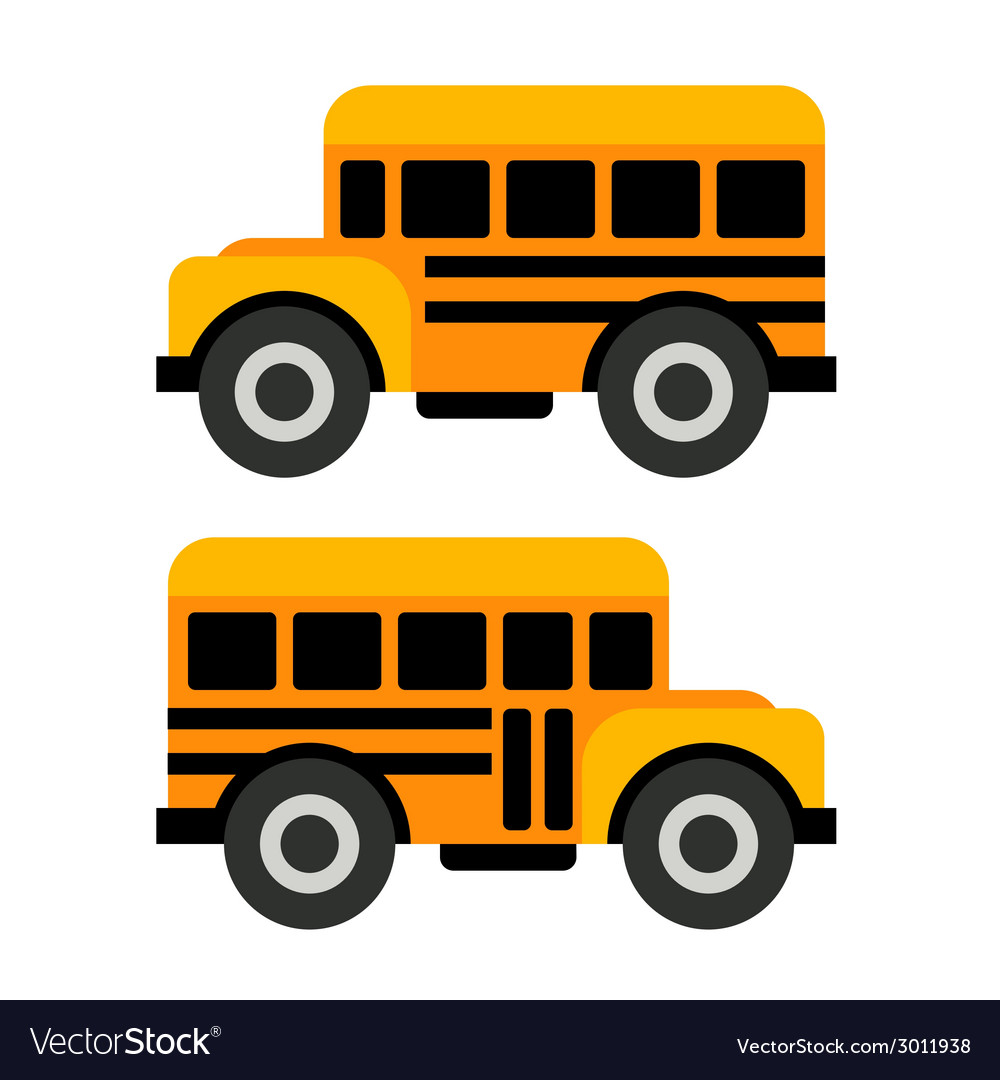 School Bus Icons in Flat Style