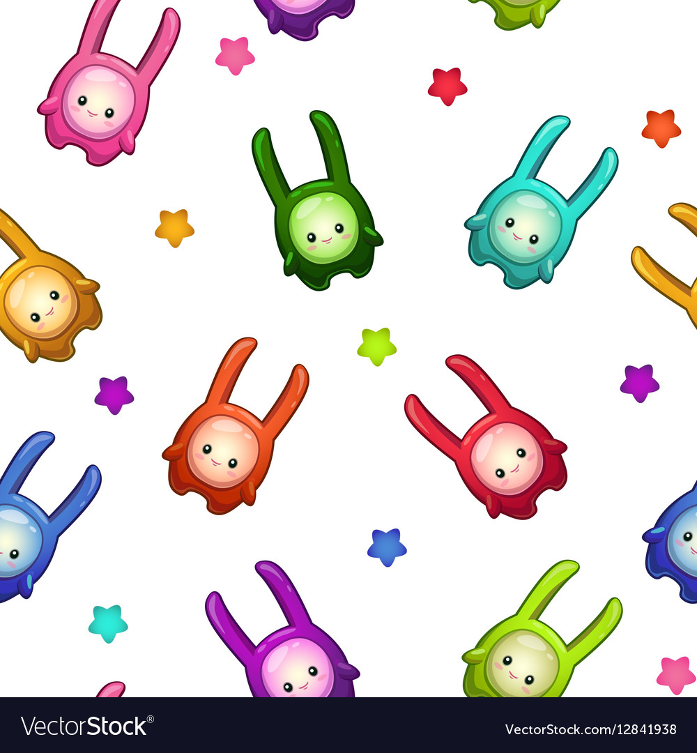 Seamless pattern with cartoon colorful aliens