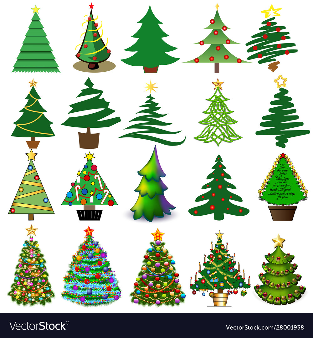 Set christmas and new year trees with toys and